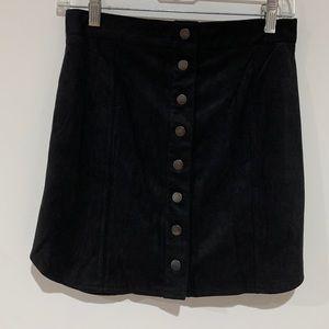 BB Dakota Faux Suede Black Mini Skirt new no tag